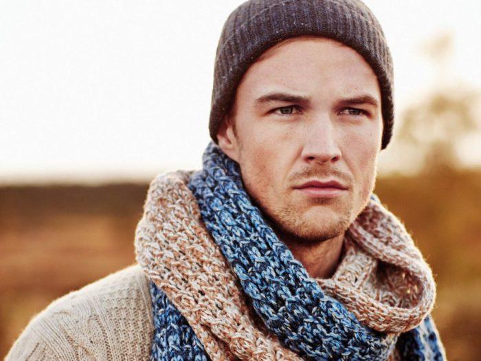Мужской вязаный шарф своими руками фото