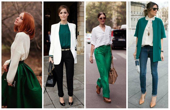 сочетание изумрудного цвета в одежде фото будете