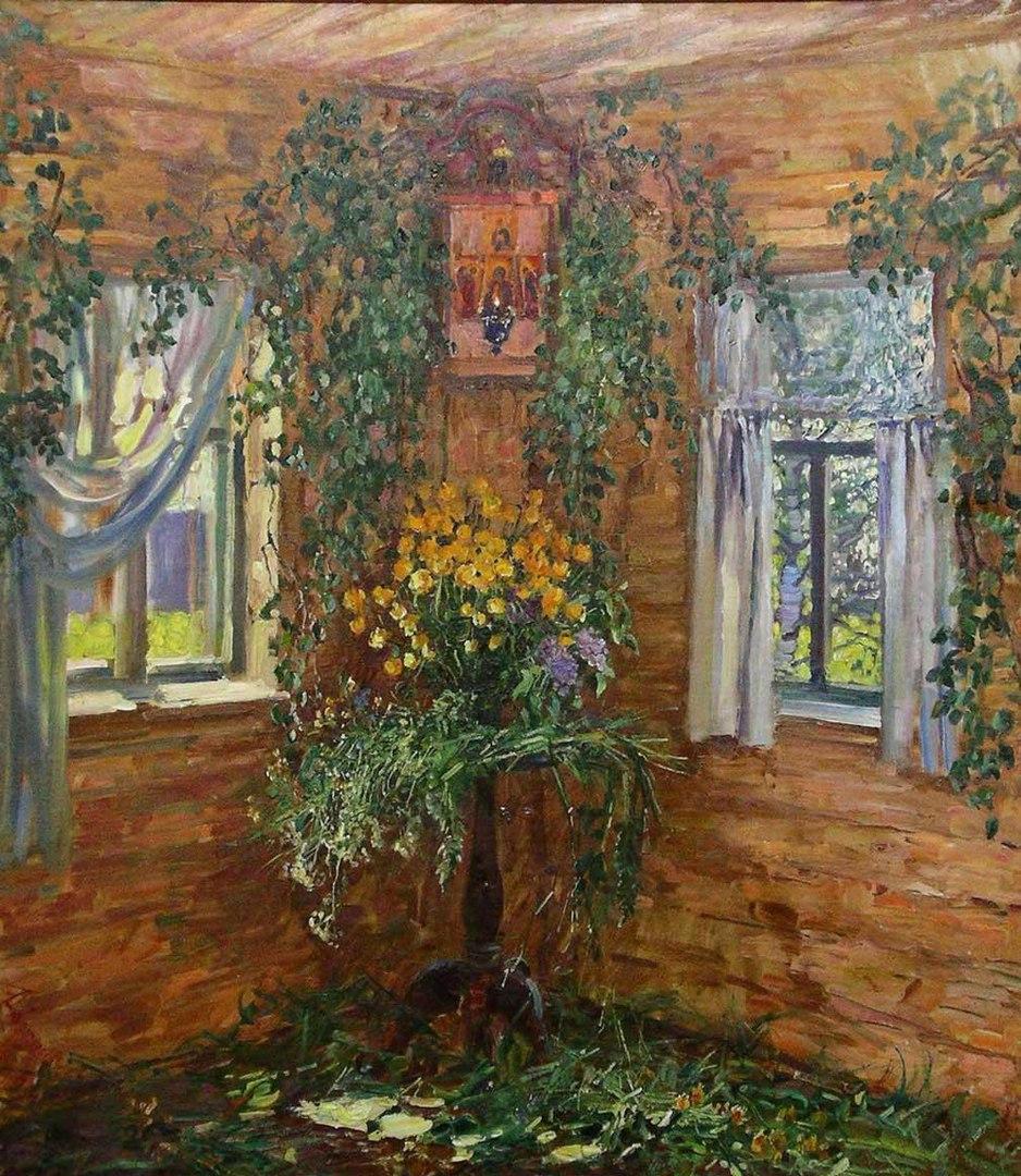 Зелеными растениями в этот праздник старались украсить весь дом.