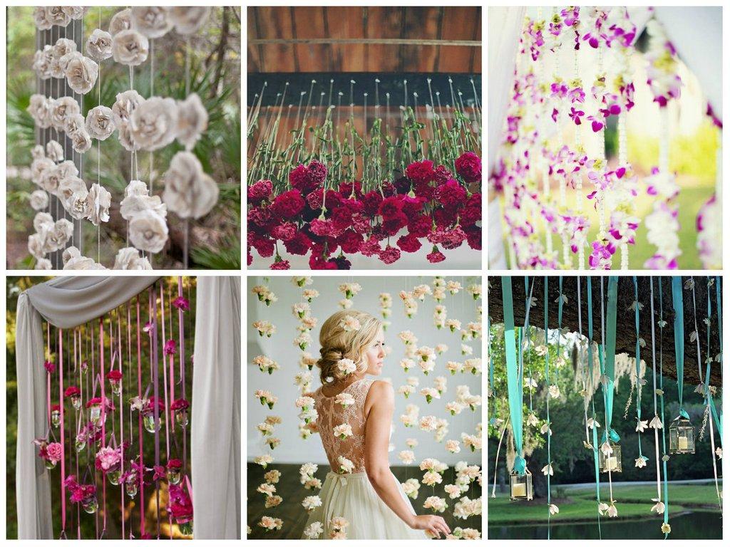 Цветочные гирлянды в свадебном декоре.