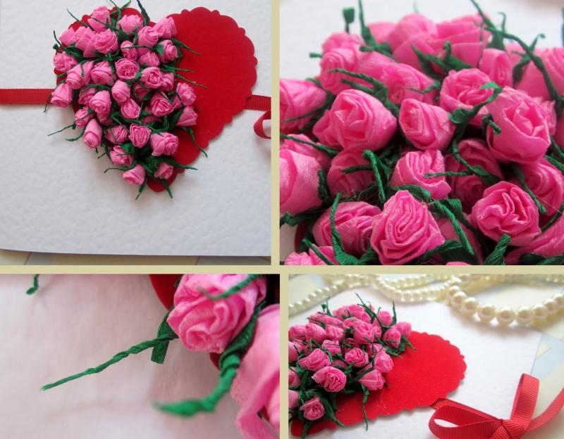 Открытки с розами из бумаги, для