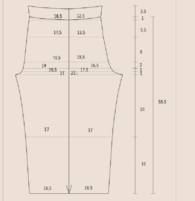 bd577dd0896c Выкройка для пошива домашних штанов без пояса. Штанина цельнокроеная, чтобы  вставить резинку верх изделия нужно завернуть.