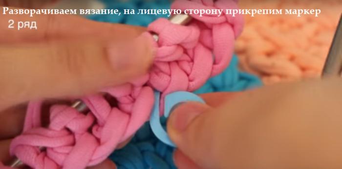 4-bezymjannyj-700x347 Вязание из трикотажной пряжи. Вязание из трикотажной пряжи крючком , фото, схемы, пошаговая инструкция, вязаный рюкзак, клатч, корзинки