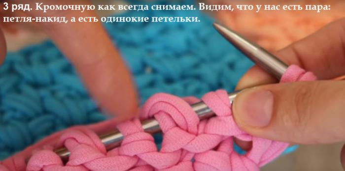 7-bezymjannyj-700x348 Вязание из трикотажной пряжи. Вязание из трикотажной пряжи крючком , фото, схемы, пошаговая инструкция, вязаный рюкзак, клатч, корзинки