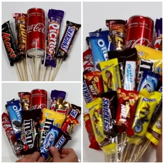 1-48 Букет из конфет своими руками в мастер-классе с фото. Как сделать цветы из конфет самому