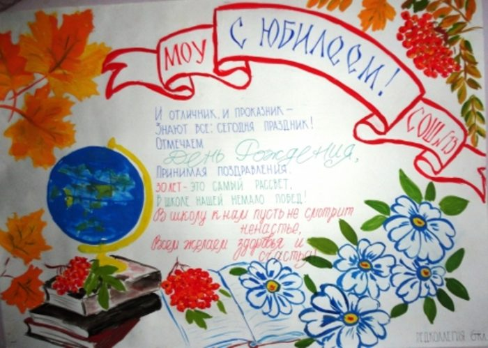 Открытка для школы к юбилею