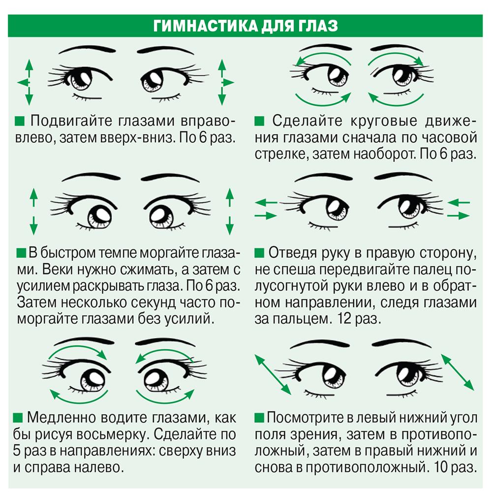 Упражнения на глаза в картинках