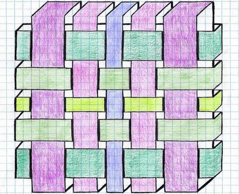 Объемные картинки на листочке в клеточку