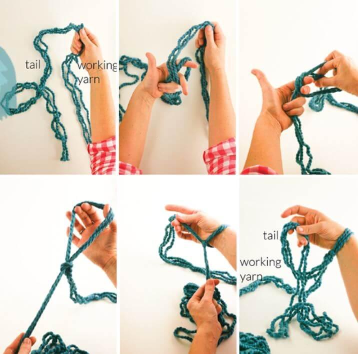вязание руками без спиц и крючка петлями схема плед пряжа для