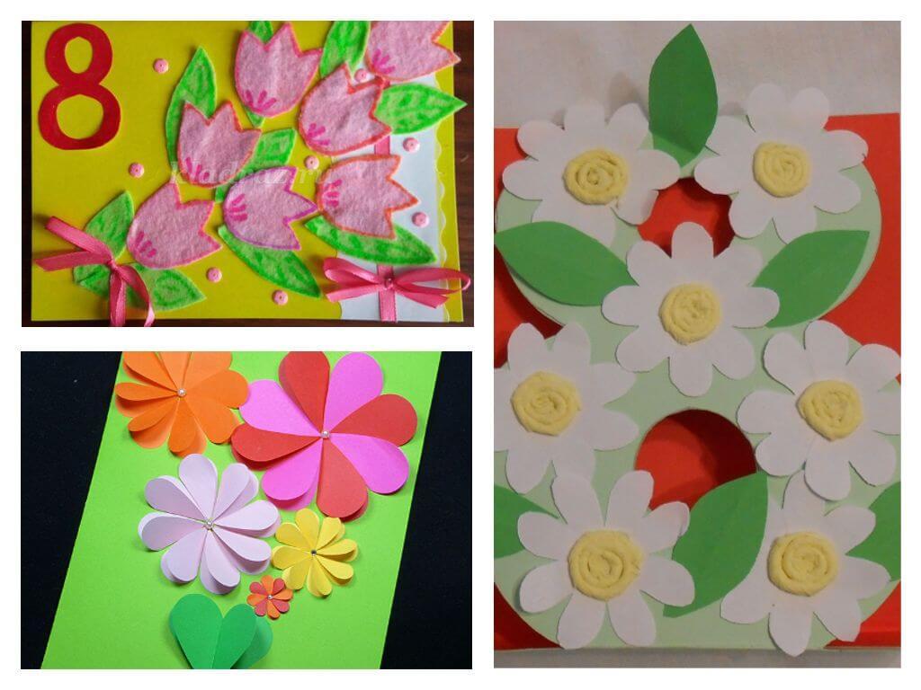 Как можно сделать своими руками открытку на 8 марта маме