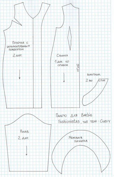 palto-barbi Как сделать легко кукле одежду. Как сделать одежду для кукол своими руками, для Барби, для монстр Хай, для Лол