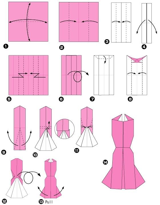 Люблю тебя, открытка к 8 марта платье оригами