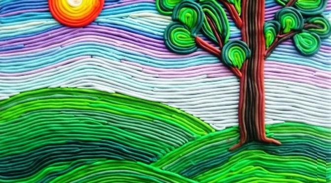 applikatsiya-iz-plastilinovyh-zhgutov15 Аппликации из пластилина для детей, на картоне, шаблоны, жгутиками, в детский сад, в школу. Поделка аппликация из пластилина, к 8 марта, 23 февраля, 9 мая День Победы