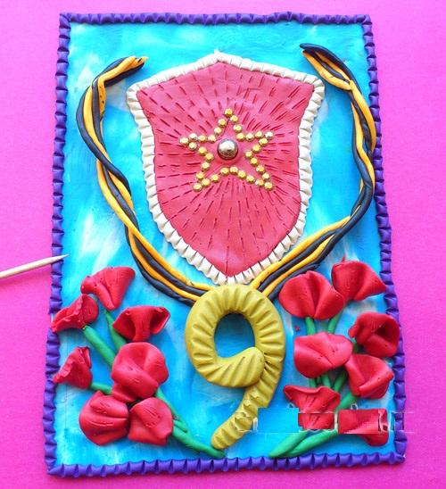 kartina-den-pobedy10 Аппликации из пластилина для детей, на картоне, шаблоны, жгутиками, в детский сад, в школу. Поделка аппликация из пластилина, к 8 марта, 23 февраля, 9 мая День Победы