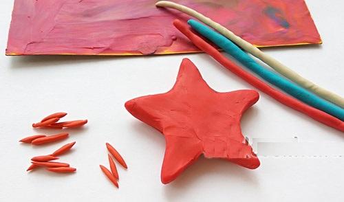otkr-23f-plast-krasn2 Аппликации из пластилина для детей, на картоне, шаблоны, жгутиками, в детский сад, в школу. Поделка аппликация из пластилина, к 8 марта, 23 февраля, 9 мая День Победы