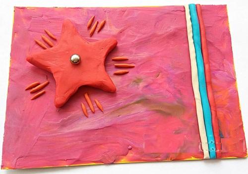 otkr-23f-plast-krasn3 Аппликации из пластилина для детей, на картоне, шаблоны, жгутиками, в детский сад, в школу. Поделка аппликация из пластилина, к 8 марта, 23 февраля, 9 мая День Победы