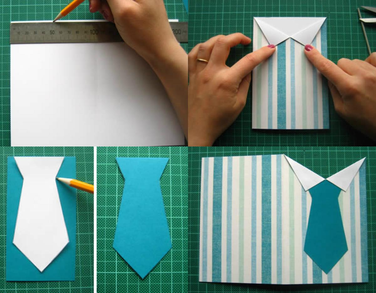 мастер класс открытка рубашка с галстуком из бумаги сад