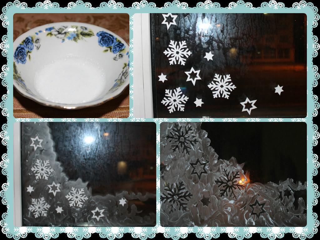 Зимние узоры на стекле зубной пастой фото