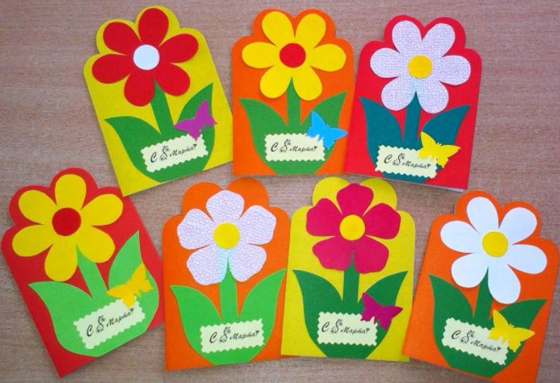 Открытки с 8 марта своими руками для детей 3-4 лет